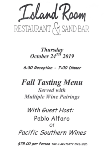 Island Room Wine Tasting Menu 10-24-19